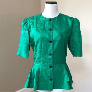 Vintage 80's Green Silk Peplum Top Shirt Blouse